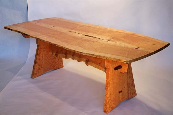 Curly Maple Dining Room Table By Wayne Ignatuk Swallowtail Studio Jay NY